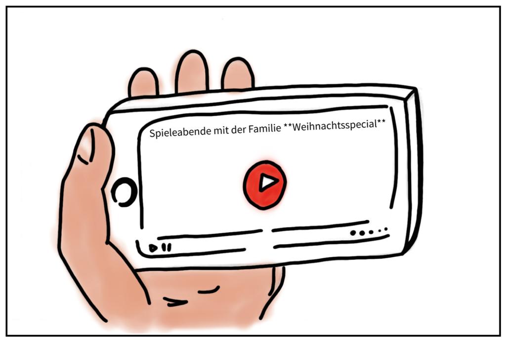 """Zu sehen ist wieder sein Handybildschirm. Er sieht sich das Video """"Spieleabende mit der Familie **Weihnachtsspecial**"""" an."""