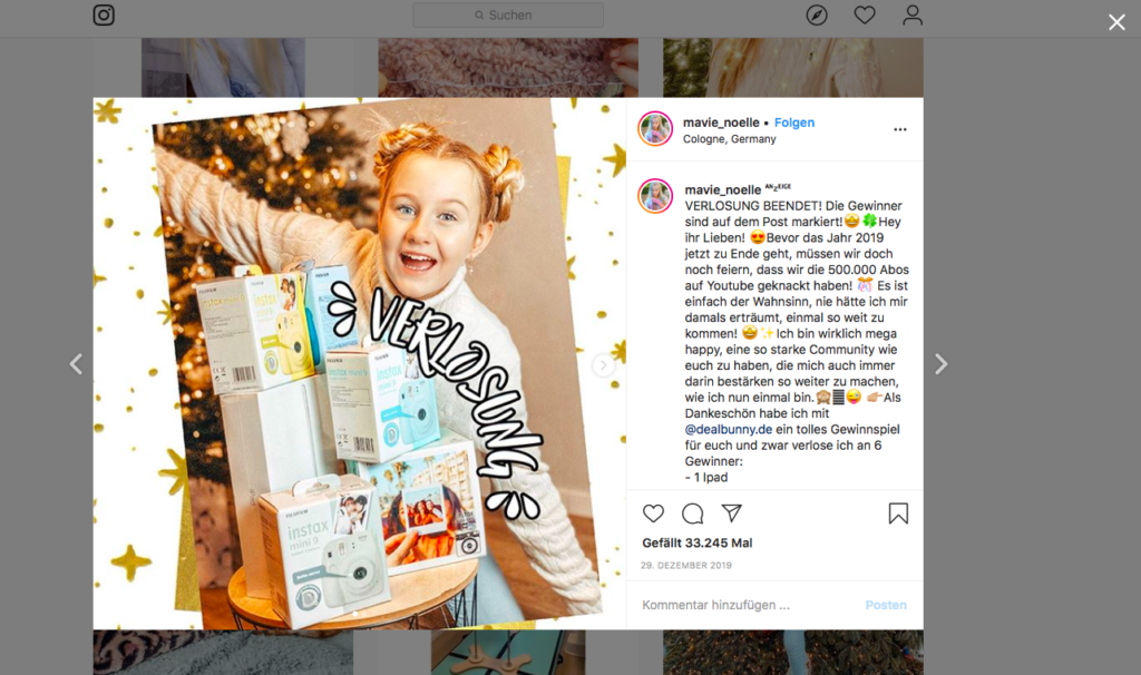 Ein Screenshot von einem Instagrampost von Mavie Noelle, darin verkündet sie die Gewinner einer Verlosung