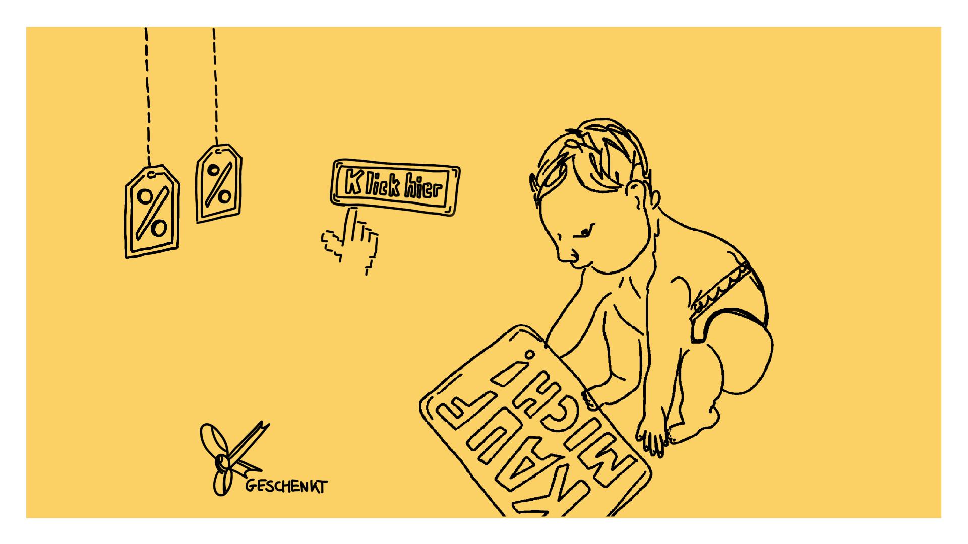 """Beitragsbild - ein Baby in Windeln, das ein Schild mit der Aufschrift """"kauf mich!"""" hochhebt umgeben von Sale Schildern und einem """"hier klicken"""" Button"""