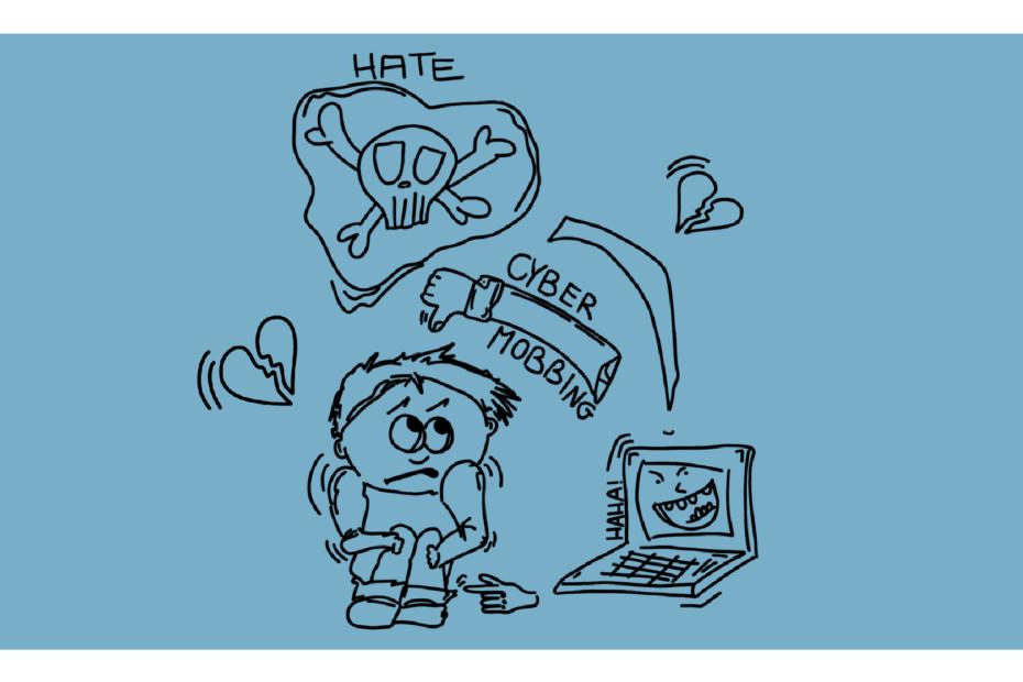 Beitragsbild - ein Kind umgeben von einem Laptop mit lachendem Bildschirm, einem Totenkopf, gebrochenen Herzen und einem Arm, der einen Daumen nach unten zeigt