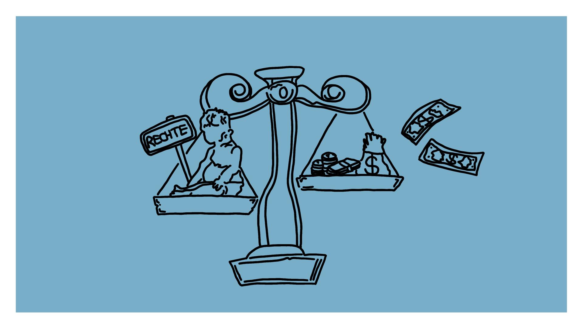 """Beitragsbild - eine Wage, auf der einen Seite ein Baby und ein Schild """"Rechte"""", auf der anderen Seite Geld"""