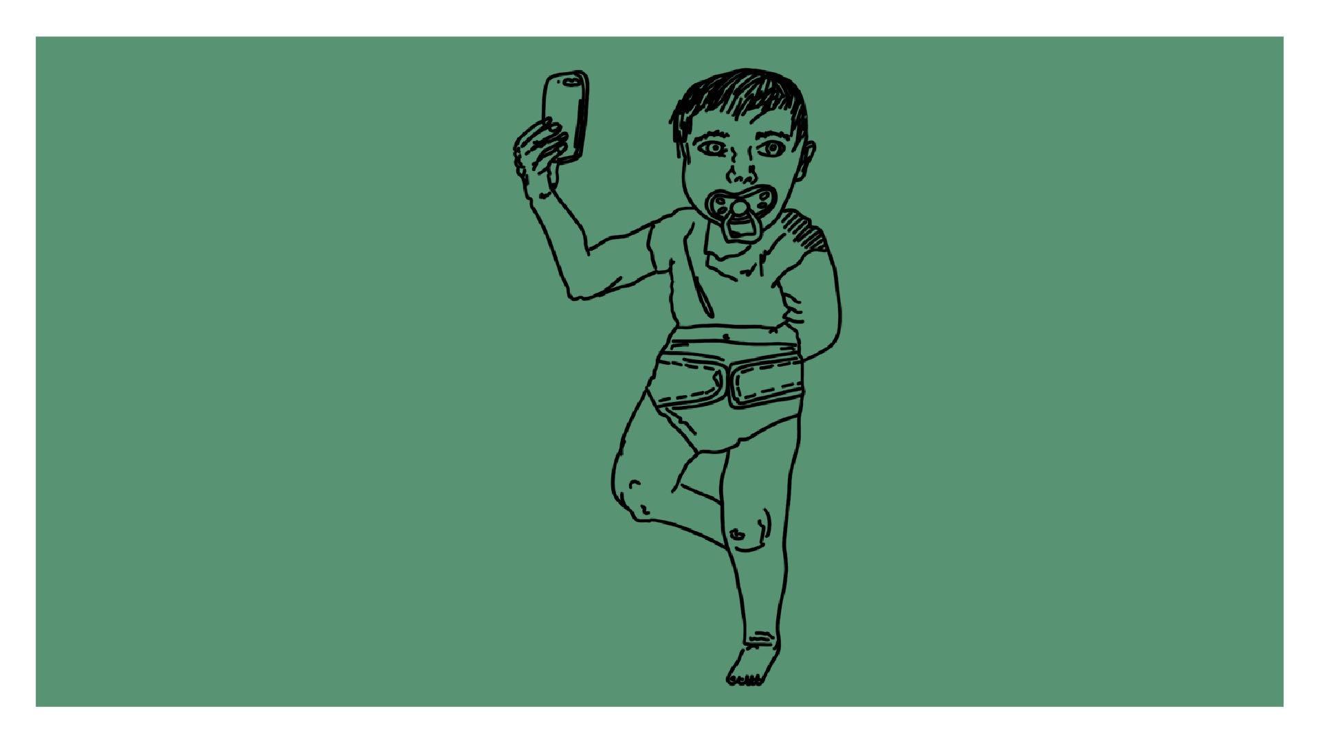 Beitragsbild - eine Baby mit Windel und Schnuller, das ein Selfie mit einem Smartphone macht