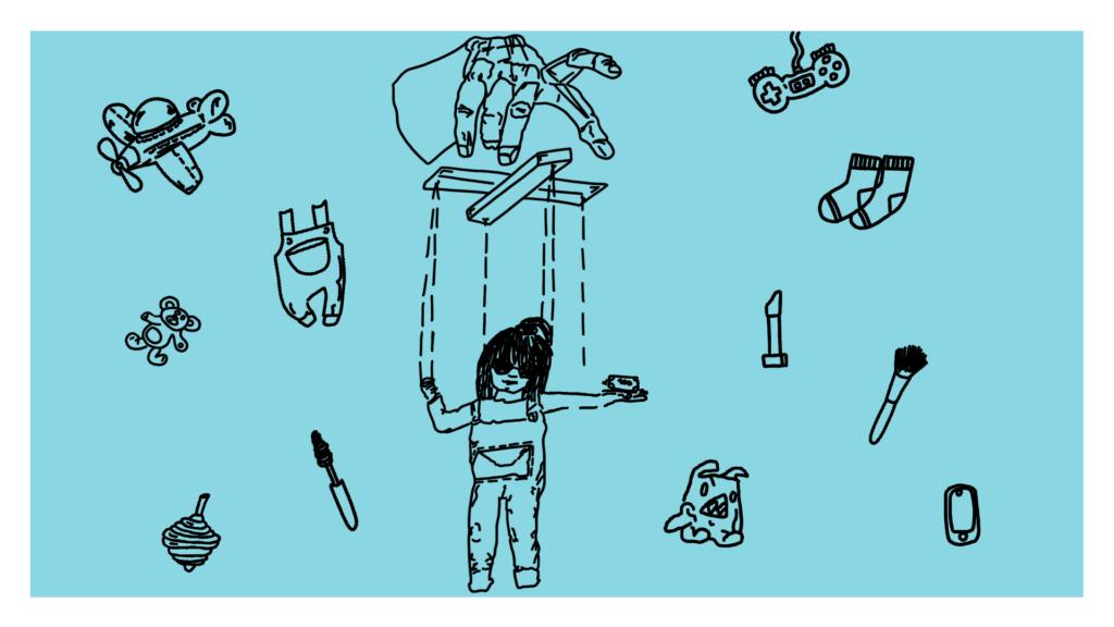 Beitragsbild - eine Hand mit einer Marionette an der ein Mädchen, darum verschiedene Gegenstände wie Socken, Pinsel, etc.