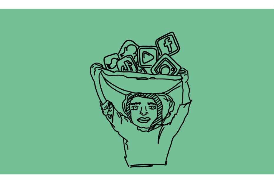 Beitragsbild - ein Mädchen hält eine Schale hoch, in der sich Social Media Icons befinden