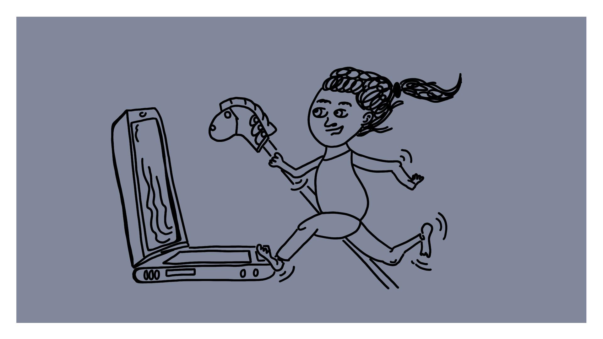 Beitragsbild - ein kleines Mädchen das auf einem Steckenpferd auf einen Laptop zurennt