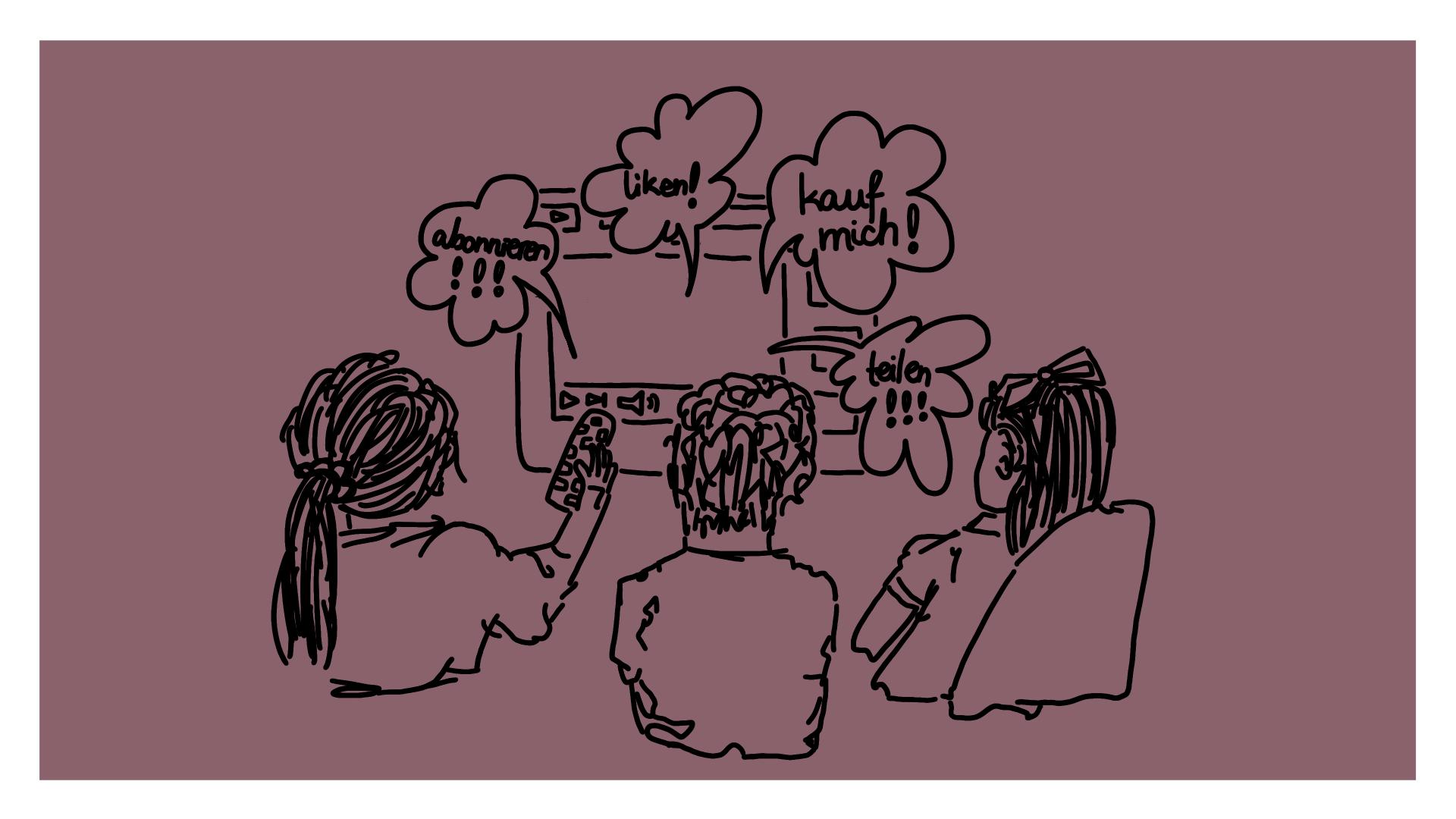 """Beitragsbild - Kinder von hinten, die vor einem Fernseher sitzen aus dem Sprechblasen kommen mit """"abonnieren"""", """"liken"""", """"teilen"""" und """"kauf mich"""""""