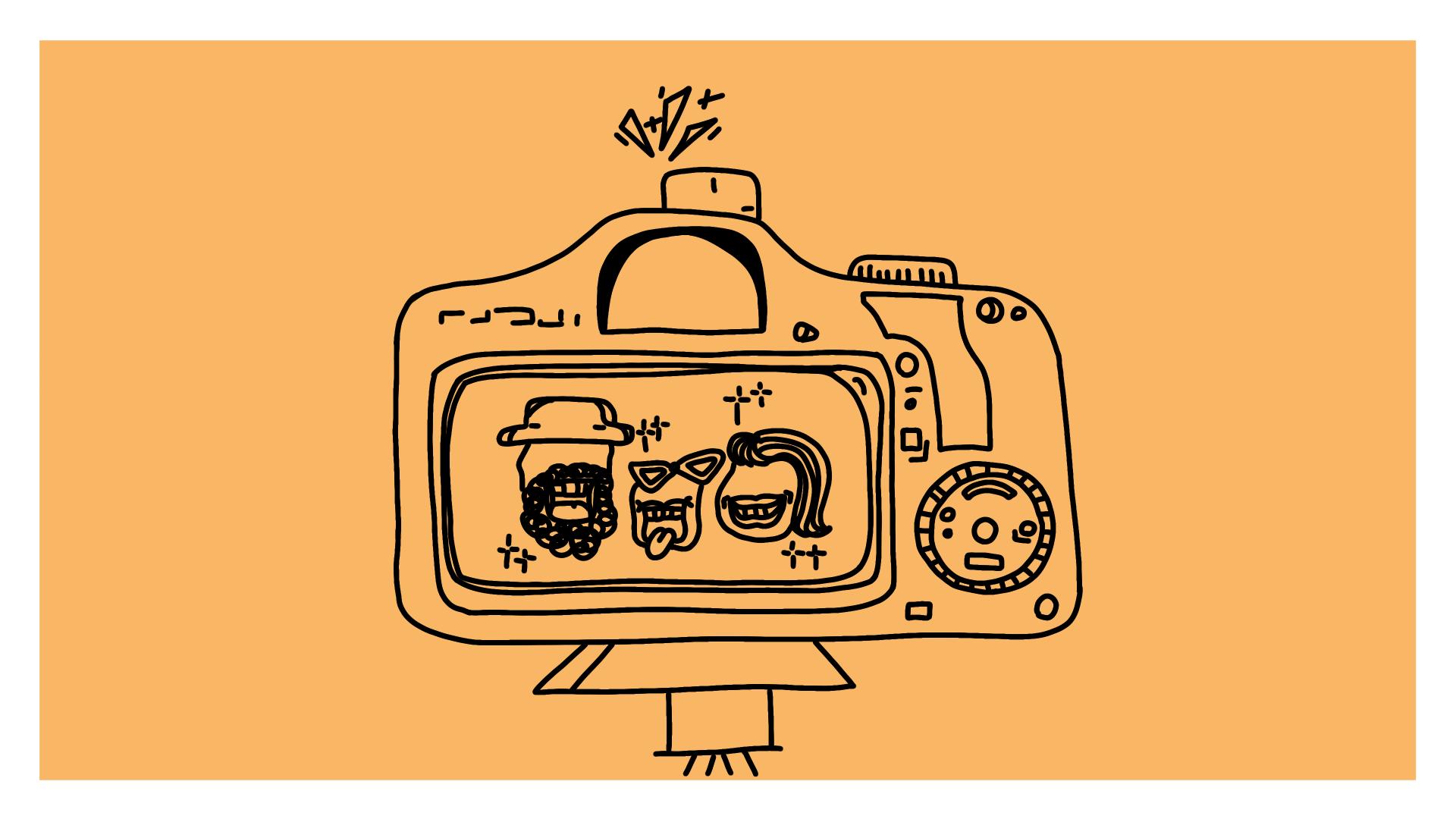 Beitragsbild - eine Kamera, auf deren Bildschirm eine fröhliche Familie zu sehen ist